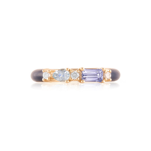 Ceylon Sapphire & Aquamarine 14K Yellow Gold Navy Enamel Ring with White Diamonds