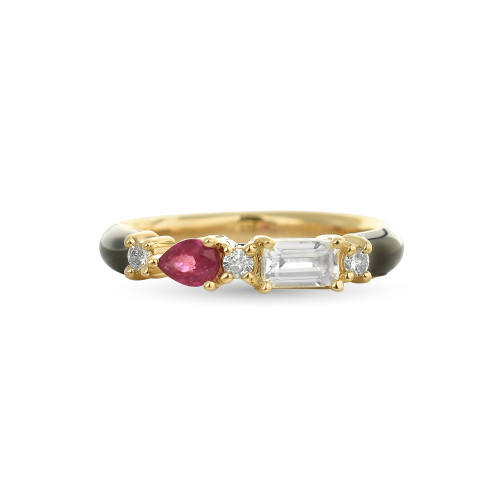 Ruby & White Topaz 14K Yellow Gold Black Enamel Ring with White Diamonds