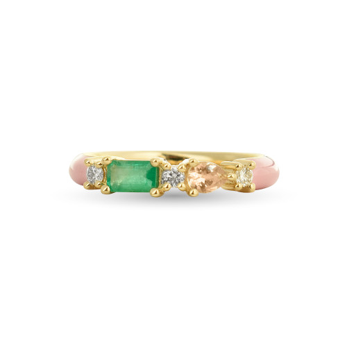 Emerald & Morganite 14K Yellow Gold Blush Enamel Ring with White Diamonds