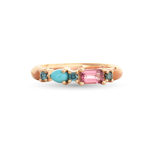 Turquoise & Pink Sapphire 14K Rose Gold Orange Enamel Ring with Blue Diamonds