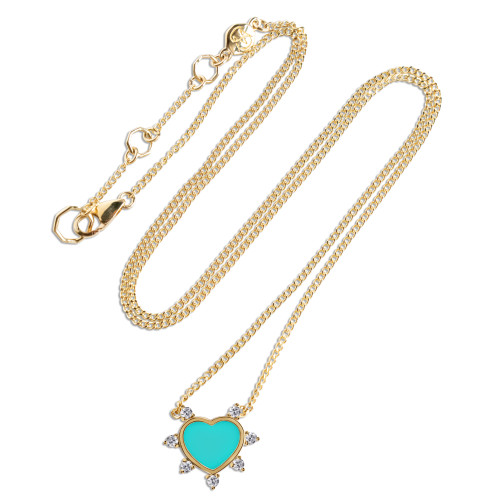 Carved Turquoise 14K Yellow Gold Heart Necklace with White Diamonds