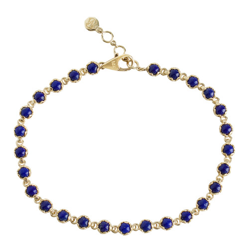 Bezel Set 14K Yellow Gold Cabochon Lapis Tennis Bracelet