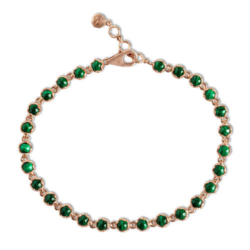 Bezel Set 14K Rose Gold Cabochon Malachite Tennis Bracelet