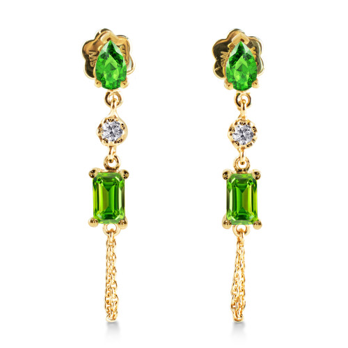 White Diamond, Tsavorite, & Chrome Diopside  14K Yellow Gold Dangle Earrings with Chain