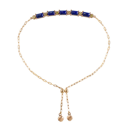 "Lapis Square Cabochon 18K Rose Gold ""Perfect Fit"" Adjustable Bracelet with Yellow Diamonds"