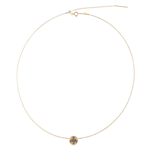 Blue Diamond Peace Sign Charm + 18K Rose Gold Wire Necklace