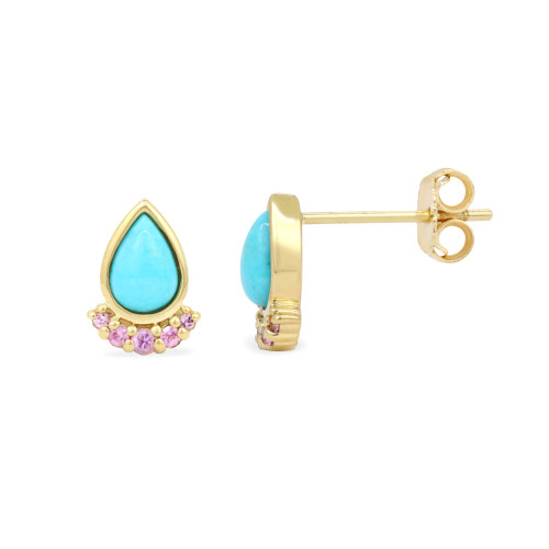 Pink Sapphire 14K Yellow Gold Teardrop Turquoise Studs