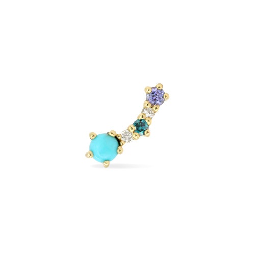 Turquoise & White Diamond 14K Yellow Gold Mini Curved Climber (Single, Left)