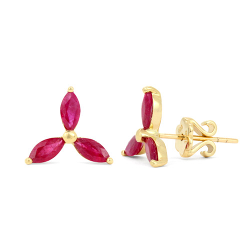 Red Ruby 14K Yellow Gold Marquise Flower Earrings