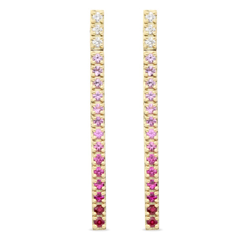 White Diamond, Pink Sapphire, & Ruby 14K Yellow Gold Straight Bar Dangle Earrings