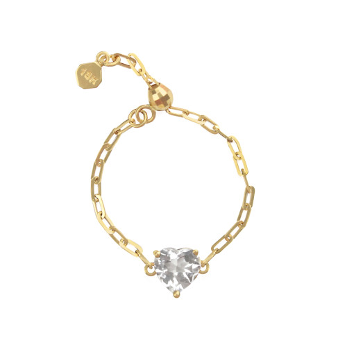 """White Topaz 18K Yellow Gold """"Perfect Fit"""" Adjustable Heart Chain Ring"""