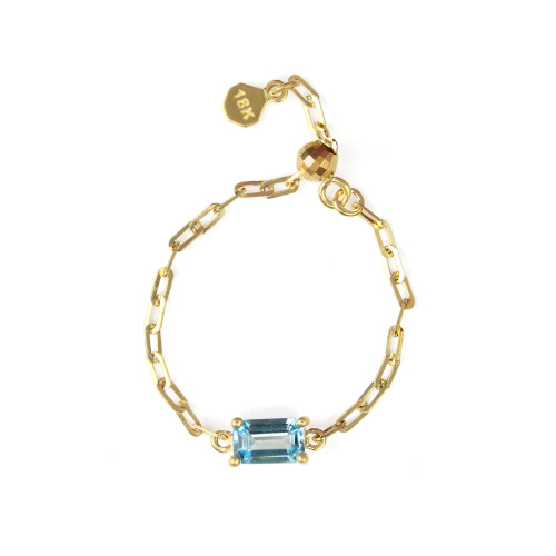 "Swiss Blue Topaz 18K Yellow Gold ""Perfect Fit"" Baguette Adjustable Chain Ring"