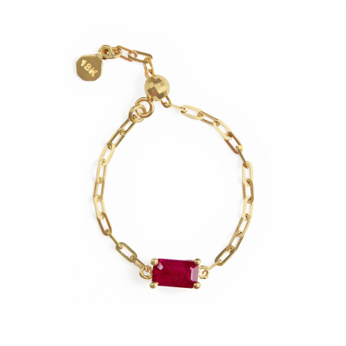 "Ruby 18K Yellow Gold ""Perfect Fit"" Baguette Adjustable Chain Ring"