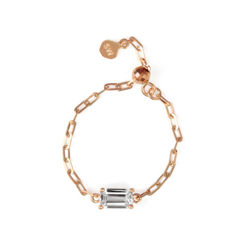 "White Topaz 18K Rose Gold ""Perfect Fit"" Baguette Adjustable Chain Ring"