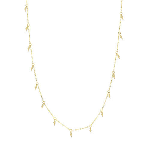 Solid 14K Yellow Gold Long Lightning Bolt Necklace