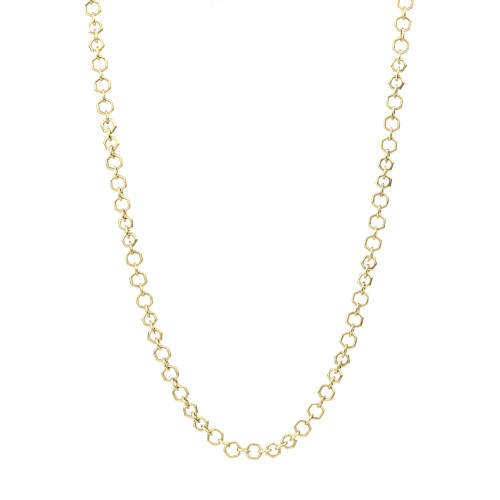 Handmade Solid 14K Yellow Gold Octagon Link Chain