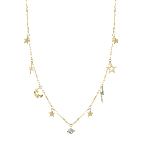 """Diamond 14K Yellow Gold """"Out of Orbit"""" Charm Necklace"""