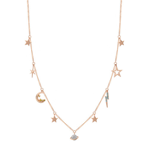 """Diamond 14K Rose Gold """"Out of Orbit"""" Charm Necklace"""