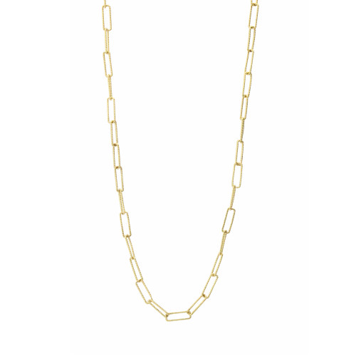 Textured 14K Yellow Gold Rectangle Link Chain