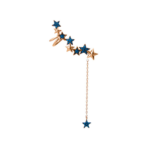 Blue Diamonds 14K Rose Gold Star Ear Cuff with Star Dangle Back, Left Ear