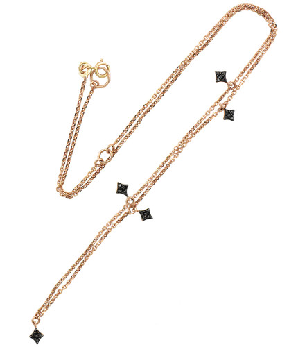 Northern Star Black Diamond 14K Rose Gold Charm Necklace