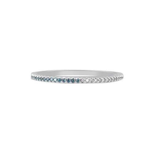 Blue & White Diamond 14K White Gold Skinny Stacking Band