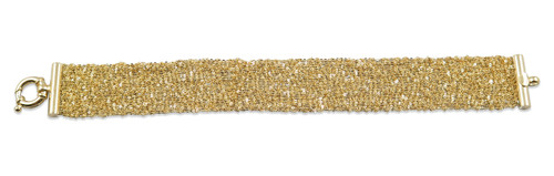 18K Yellow Gold Plated Hand Woven Mesh Bracelet - Stevie Wren Fine Jewelry
