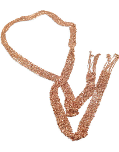 18K Plated Rose Gold Hand Woven Mesh Necklace  - Stevie Wren Fine Jewelry