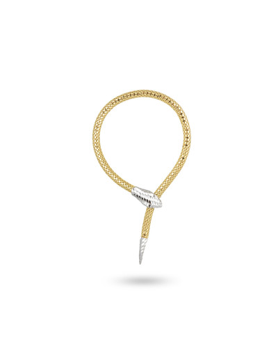 Two-Toned 18K Yellow Gold & 925 Sterling Silver Snake Bracelet