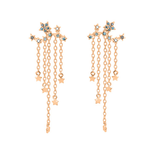 Blue Diamond 14K Gold Star Ear Climbers with Falling Star Dangle Backs