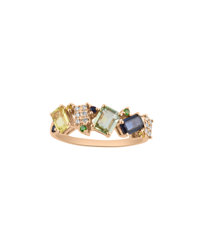 Multi Colored Emerald Cut Sapphires & White Diamond 14K Rose Gold Ring
