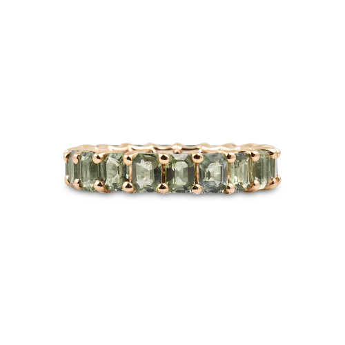 Fancy Emerald Cut Green Sapphire 14K Rose Gold Eternity Band