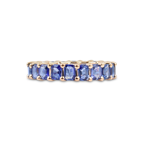 Fancy Emerald Cut Blue Sapphire 14K Rose Gold Eternity Band