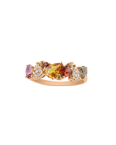 Multi Color Pear Cut Sapphire Ring in 14K Rose Gold with White Diamonds