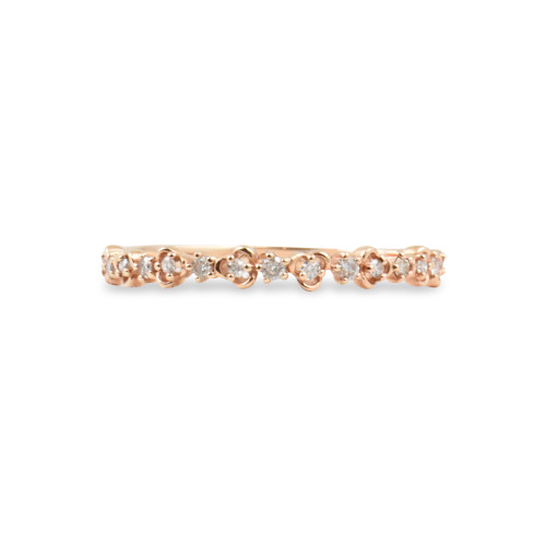 "White Diamond 14K Rose Gold ""Vine"" Style Stackable Ring"