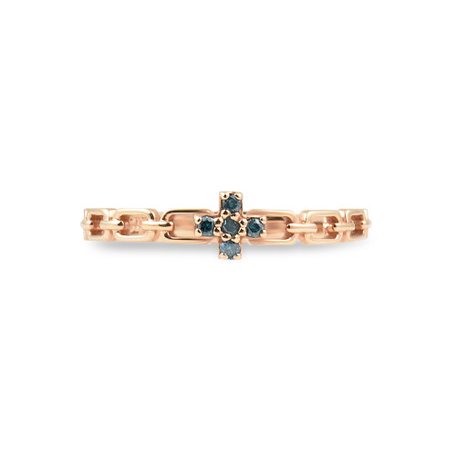 Blue Diamond 14K Rose Gold Cross Chain Stacking Ring