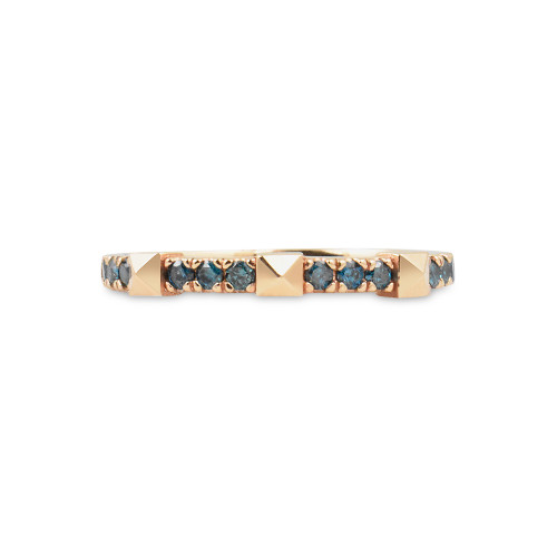 Blue Diamond 14K Gold Pyramid Stacking Ring