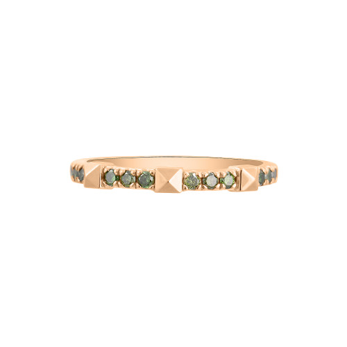 Green Diamond 14K Gold Pyramid Stacking Ring