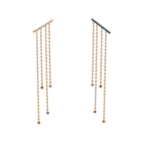 Blue Diamond 14K Gold Bar Earrings with Diamond Tassel Backs