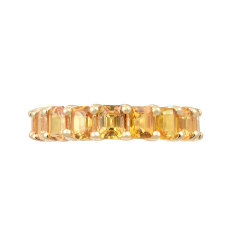 Fancy Emerald Cut Yellow Sapphire 14K Rose Gold Eternity Band