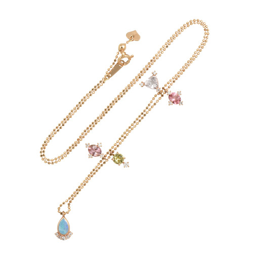 Morganite, Tourmaline, Opal, & Garnet 18K Gold  Gem Charm Necklace with White Diamonds