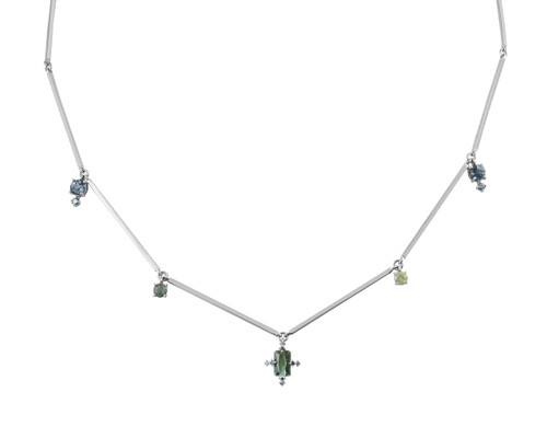 London Blue Topaz, Emerald, & Tourmaline 14K Gold GemCharm Necklace with Blue Diamonds