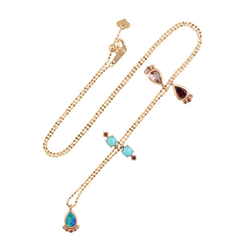 Tourmaline, Turquoise, & Opal 18K Gold GemCharm Necklace with Pink Diamonds