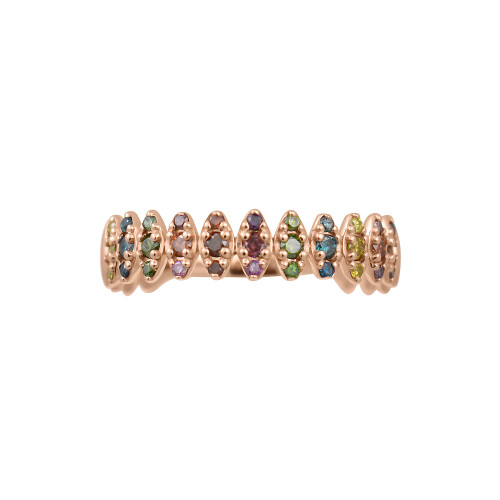 "Rainbow Diamond 14K Rose Gold ""Zig-Zag"" Ring, Oxidized Prongs"