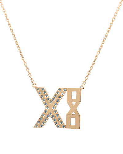 Blue Diamond XOXO 14K Gold Geometric Plate Necklace