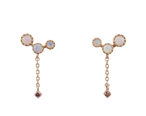 Pink Diamonds and Opal 14K Gold Dangle Earrings
