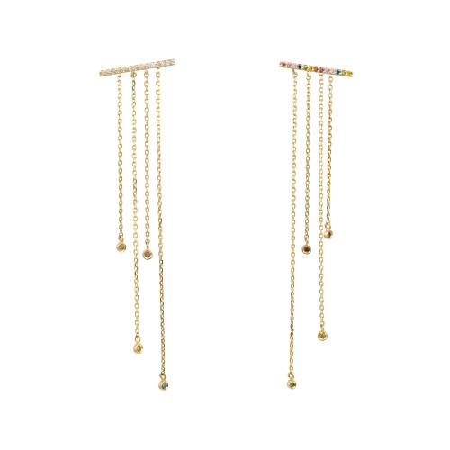 Rainbow Diamond 14K Rose Yellow Bar Post Earrings with Tassel Dangle Backs