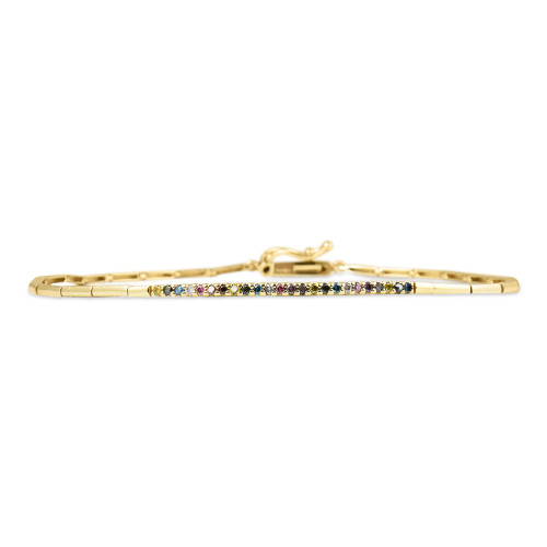 Rainbow Diamond 14K Yellow Gold Geometric Link Bar Bracelet