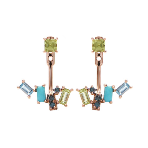 Diamond 14K Rose Gold & Semi-Precious Stones Ear Jackets