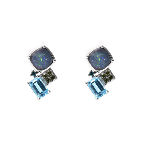 Diamond 14K White Gold Opal & Semi-Precious Stone Mini Post Dangles